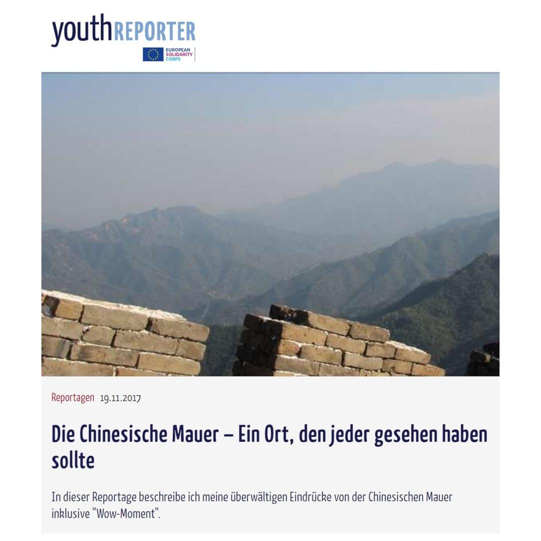 Youthreporter Die Chinesische Mauer