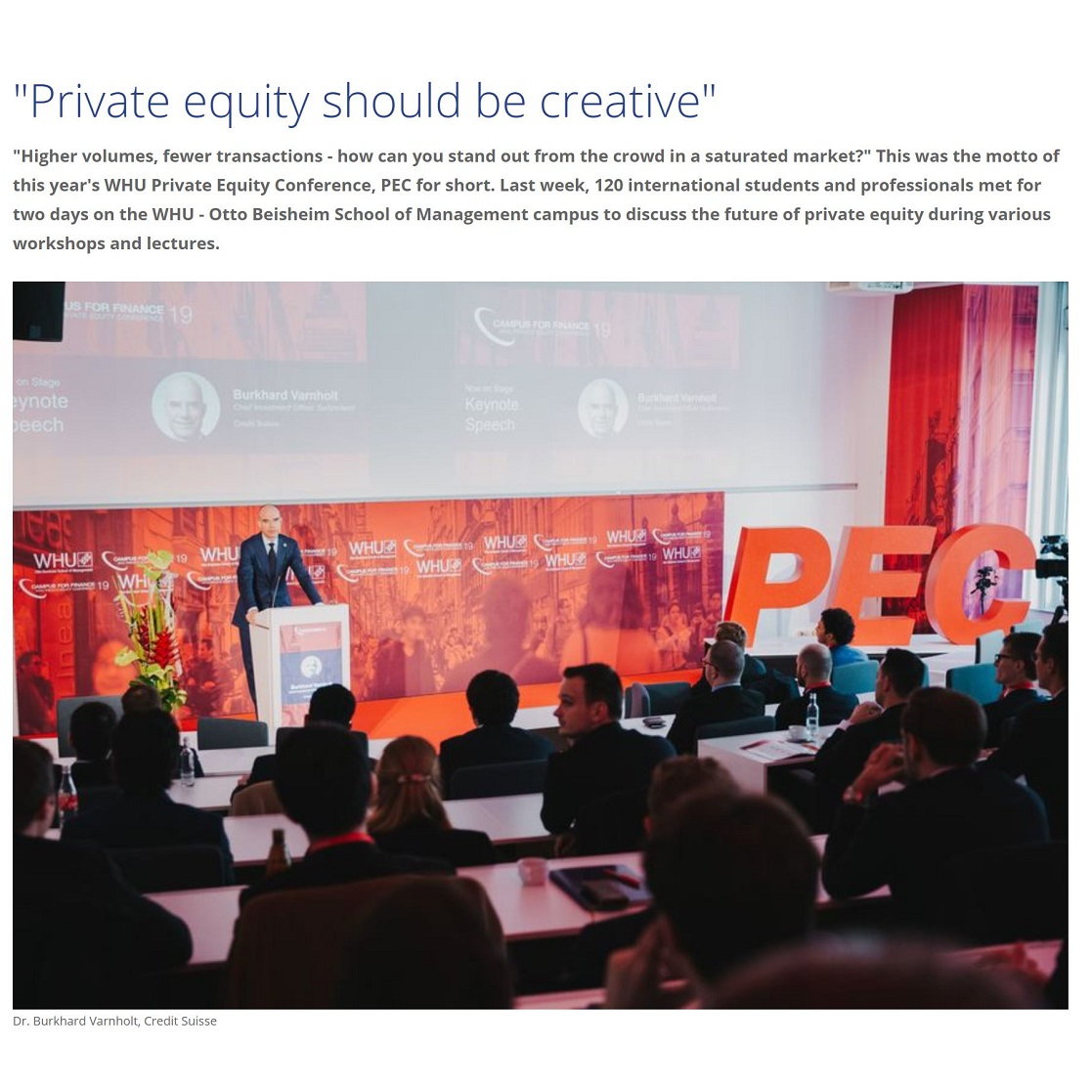 WHU Private Equity Conference 2019