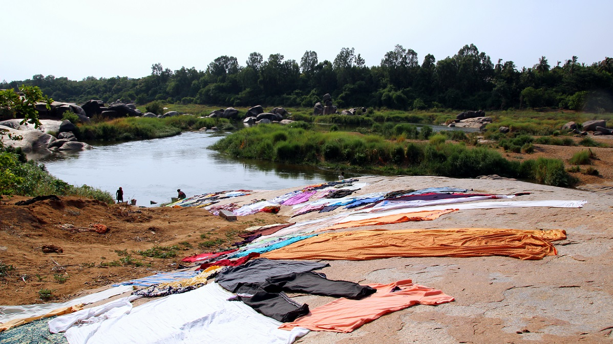 Trocknende Wäsche Indien Bild