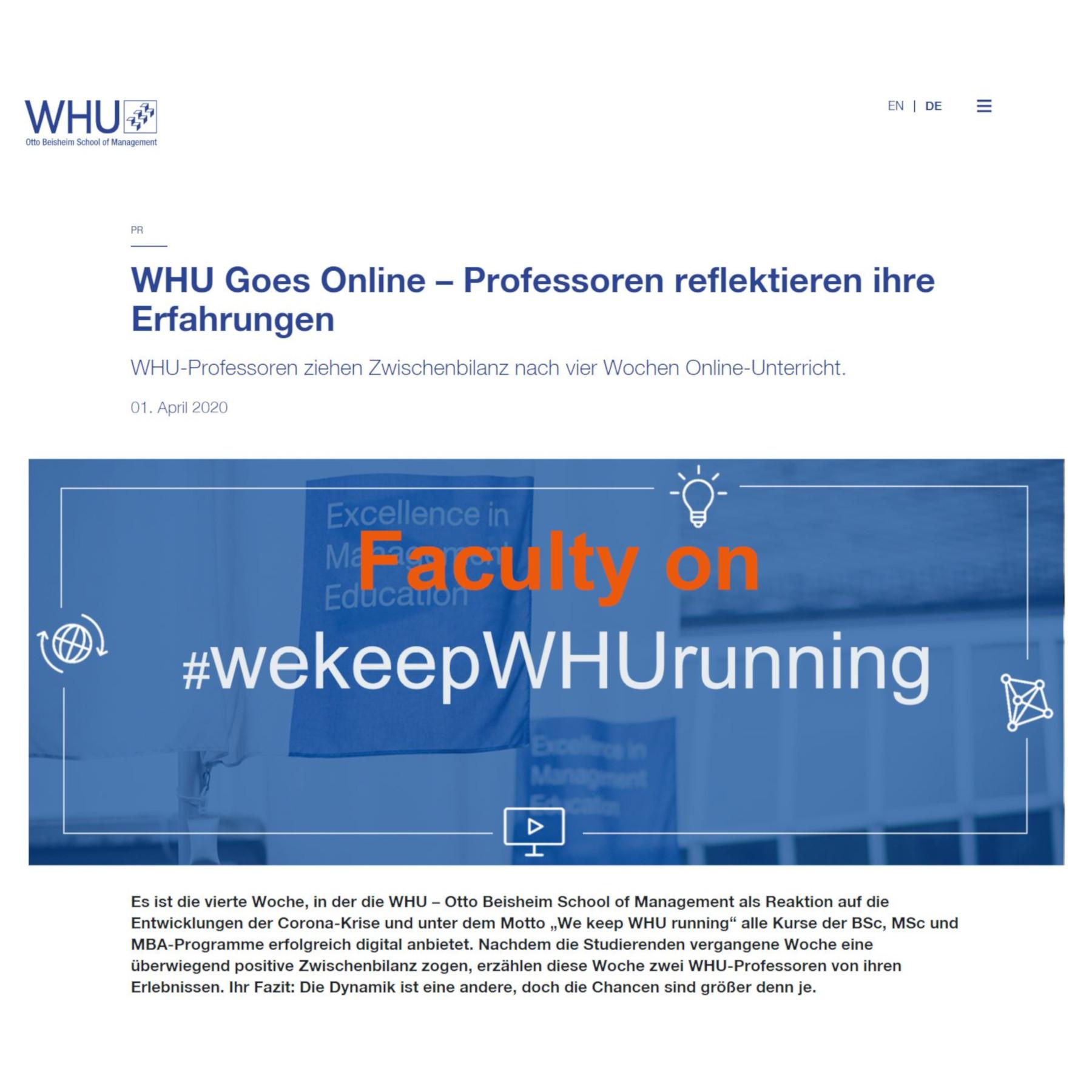 WHU Goes Online – Professoren reflektieren ihre Erfahrungen