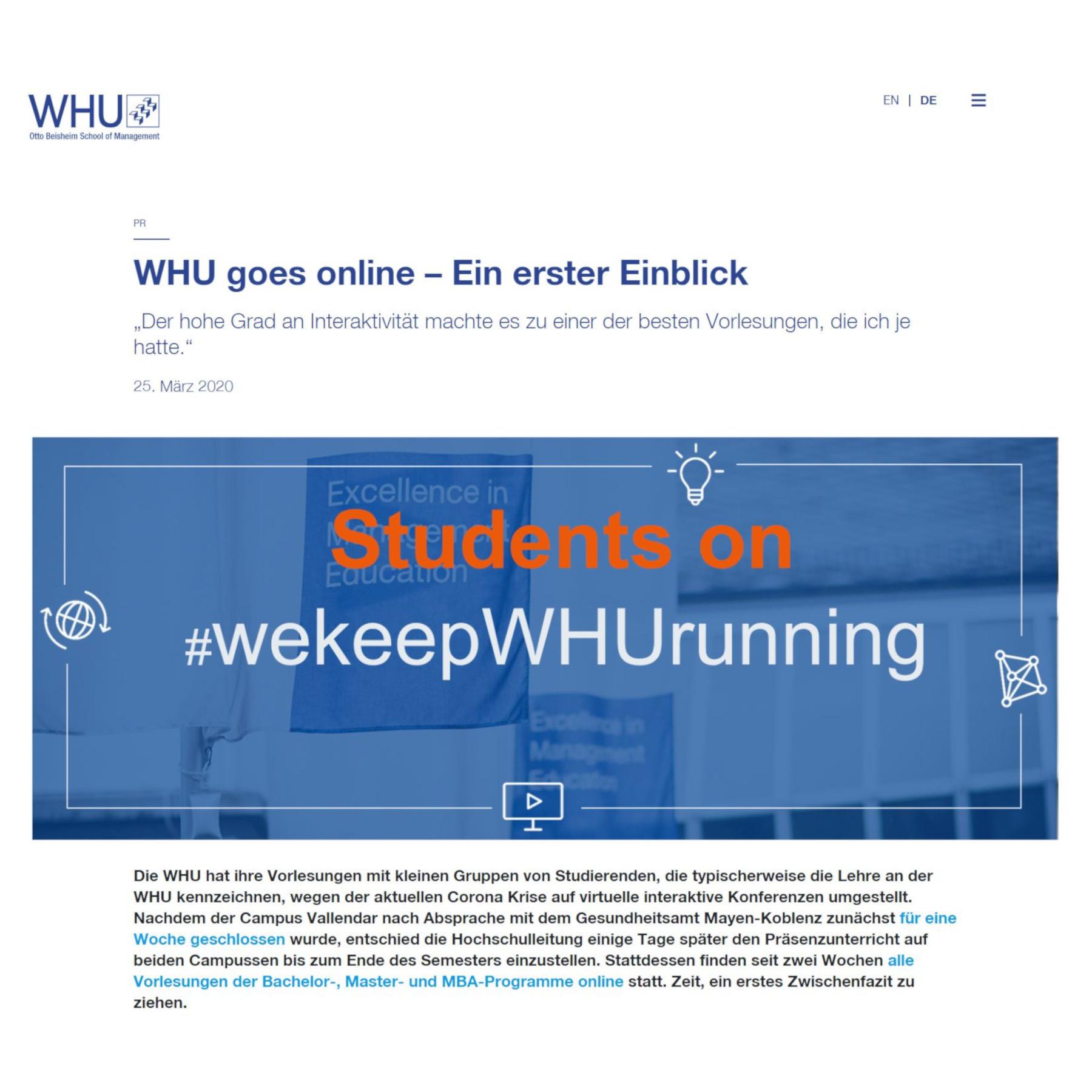 WHU Goes Online - Ein Erster Einblick