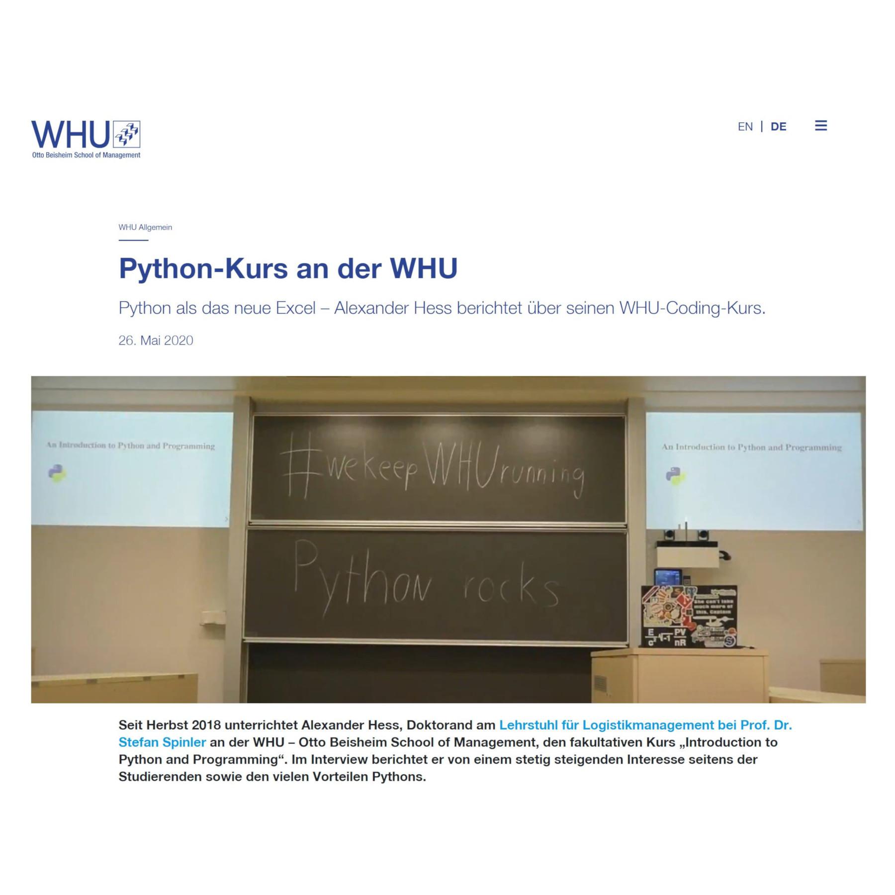 Python-Kurs an der WHU
