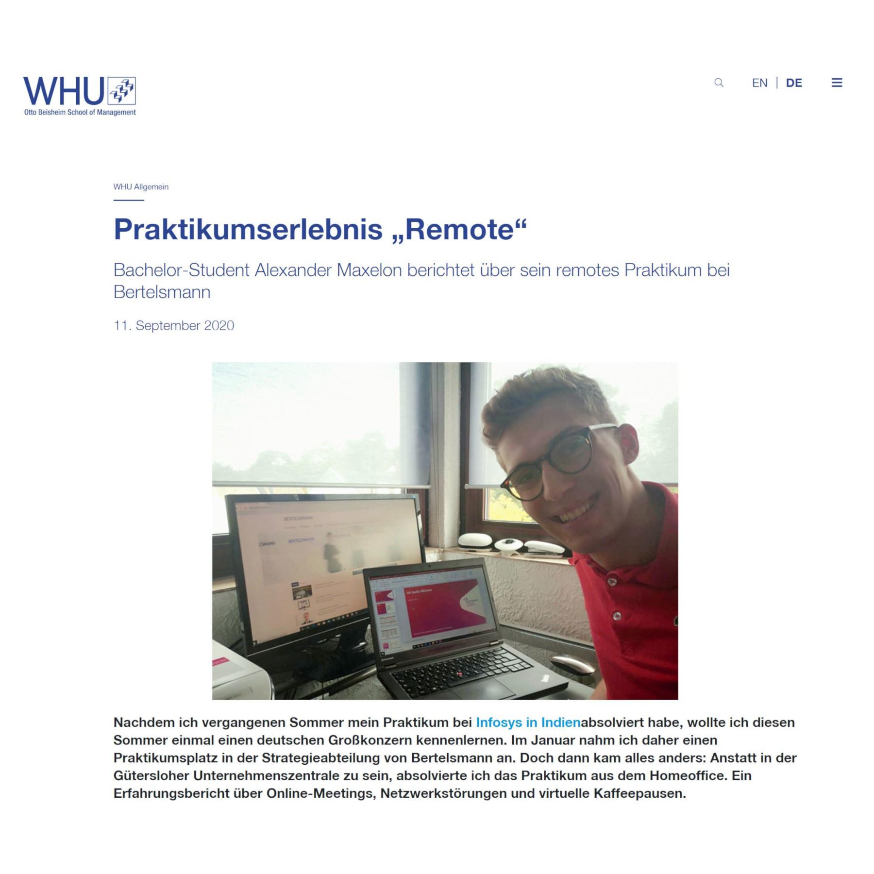 Bertelsmann Praktikumserlebnis Remote